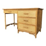 Image of Mid Century Rattan and Caning Desk For Sale