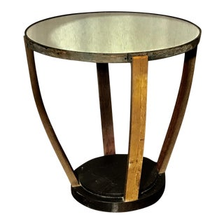 Rustic Oak Wine Barrel Table With Mirrored Top For Sale