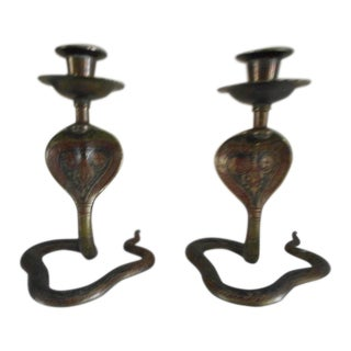 1960s Art Deco Cobra Brass Candle Stick Holders - a Pair