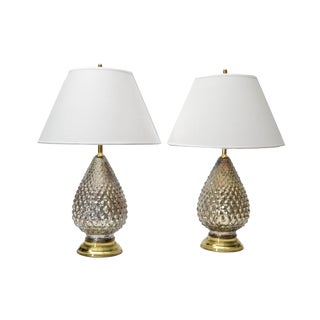 Mercury Glass Pineapple Table Lamps - A Pair