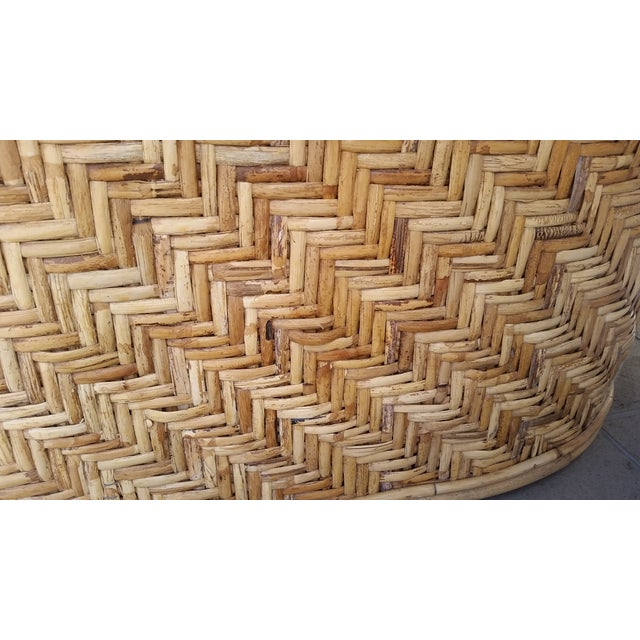 Wicker Frame & Black Cushions Outdoor Sofa - Image 6 of 6