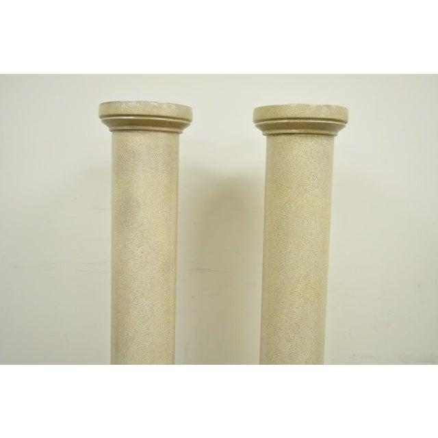 """Mid-Century Modern Vintage Pair of 60"""" Faux Concrete Fiberglass Columns Pedestal Sculpture Plant Stands For Sale - Image 3 of 11"""