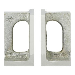 Pair Signed Studio Aluminum Bookends For Sale