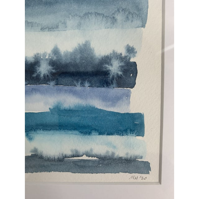Contemporary Original Abstract Watercolor in Shades of Blue For Sale - Image 3 of 10