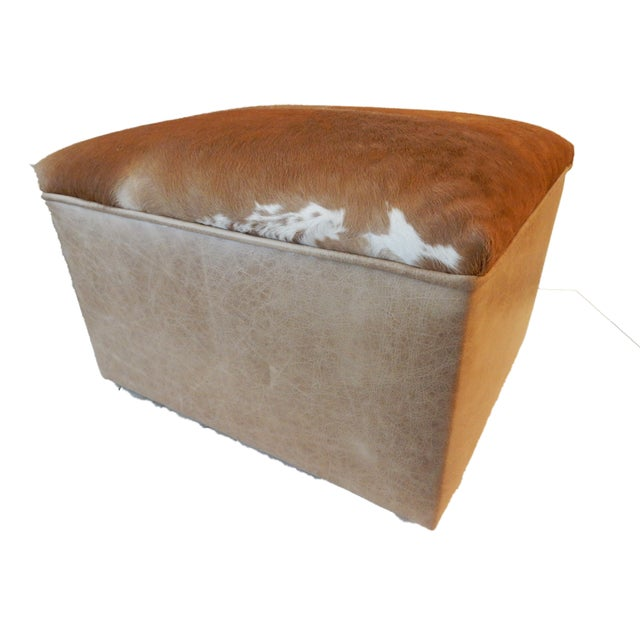 LG Cow Hide & Faux Leather Ottoman For Sale - Image 4 of 10