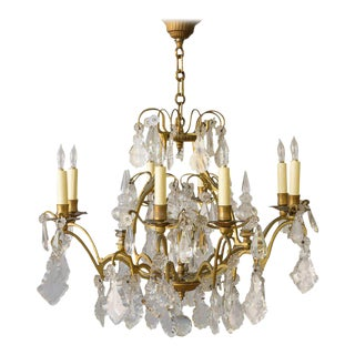French Gilt Metal and Crystal Ten-Arm Chandelier For Sale