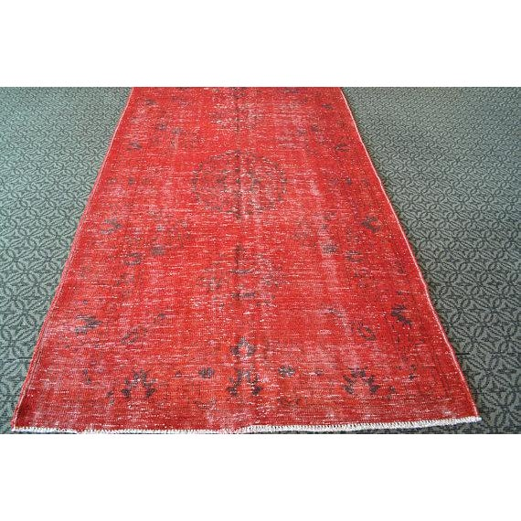 Overdyed Red Turkish Area Carpet - 5′4″ × 9′3″ For Sale - Image 5 of 6