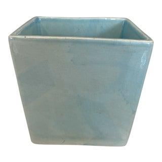 1960s Turquoise Hand Painted Italian Square Cachepot For Sale