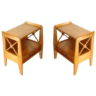 Vintage 1950s Jacqurs Adnet Oak Night Stands - a Pair For Sale