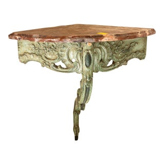 19th Century Green Laquered Wood and Red Marble Corner Console For Sale