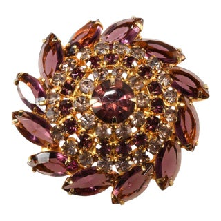 Purple Rhinestone Pinwheel Brooch Pin Vintage For Sale