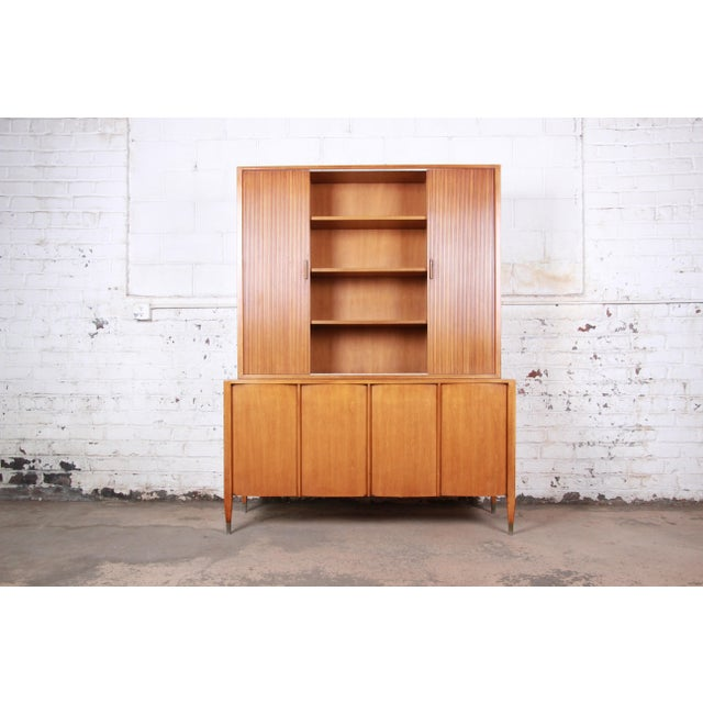 Sligh Mid-Century Modern Walnut Sideboard Credenza With Bookcase Hutch For Sale - Image 12 of 12