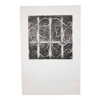 Patterned Gate I, Original Etching by Anita Klebanoff For Sale