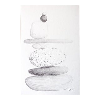 Cairn Stones Miniature Original Graphite Drawing For Sale