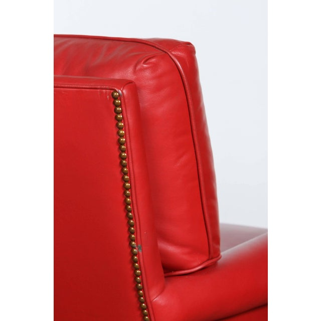 Pair of Red Leather French Club Armchairs For Sale - Image 9 of 12