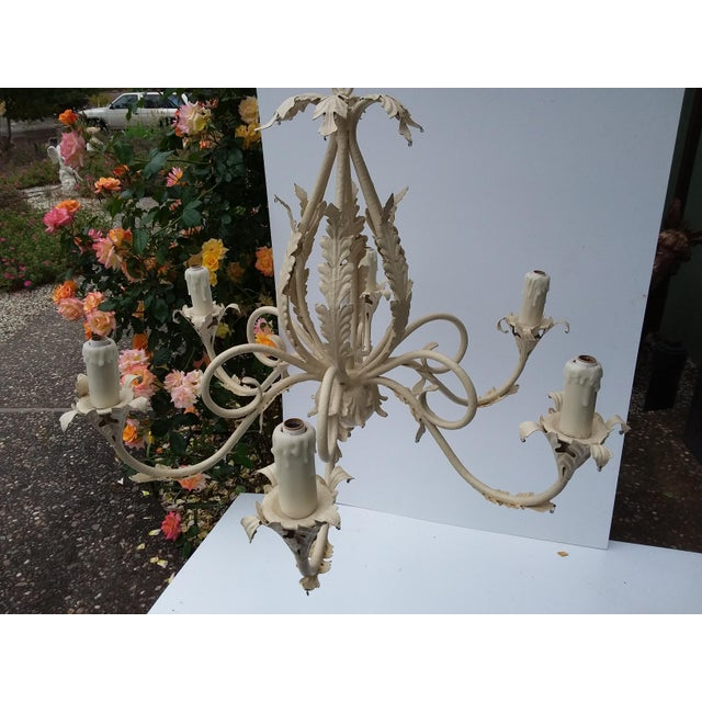 1980's Scrolling Iron Chandelier For Sale In San Antonio - Image 6 of 9