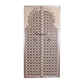 Traditional Indian Double / Split Door With Elaborate Bone Inlay For Sale