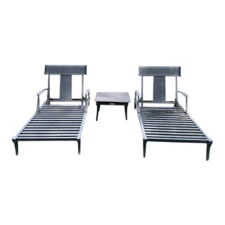 Restoration Hardware Klismos Chaise Lounge Chairs & Square Side Table- 3 Pieces For Sale