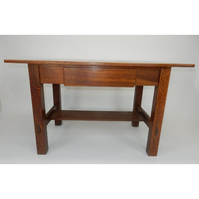 Antique Signed Charles Limbert Mission Oak Library Table/ Desk For Sale - Image 13 of 13