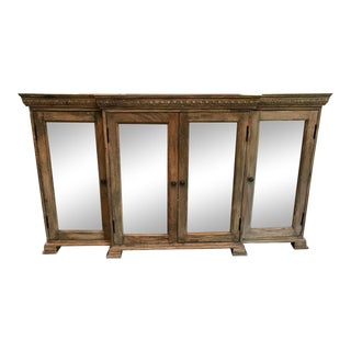 Mirror Front Wood Entertainment Console For Sale