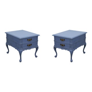 Pair of Mid-Century Blue Distressed Nightstands For Sale