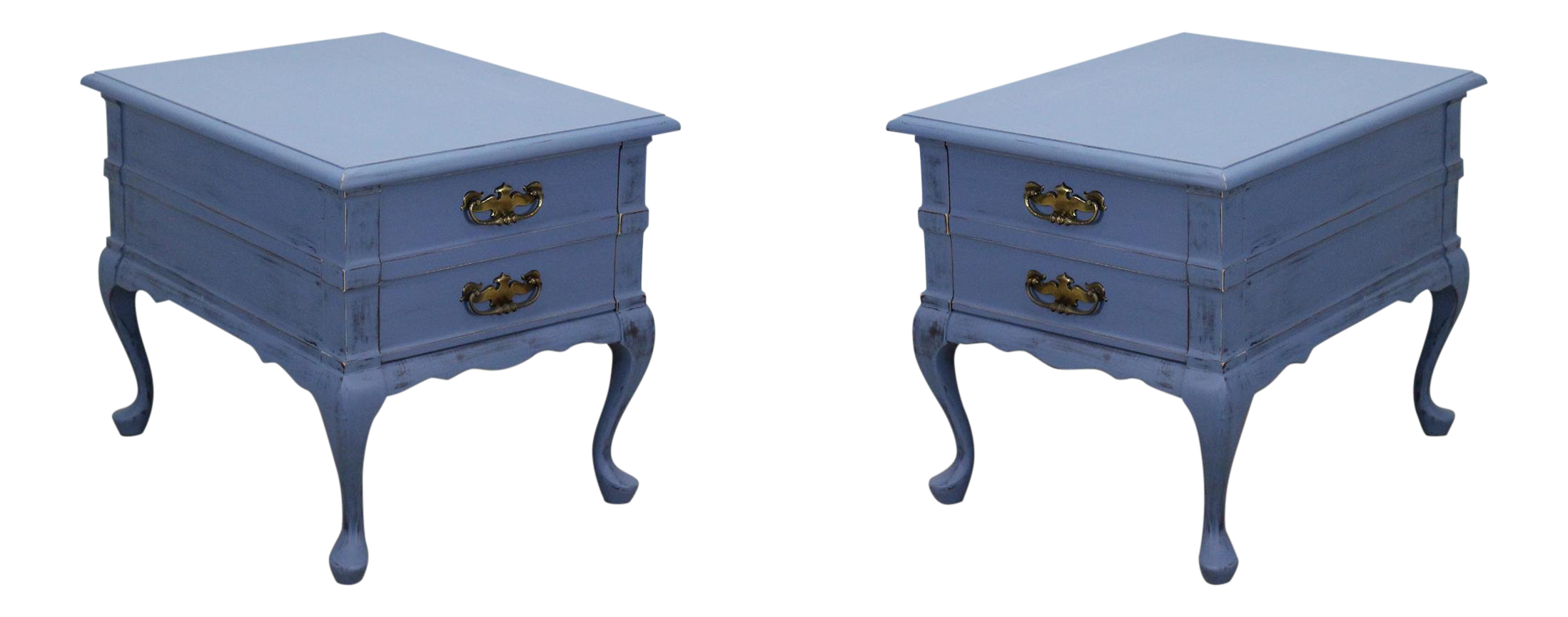 Pair Of Mid Century Blue Distressed Nightstands