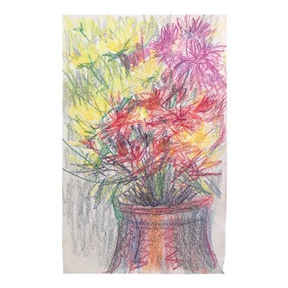 1980s Impressionist Pastel Floral Still Live Drawing by Inga-Britta Mills For Sale
