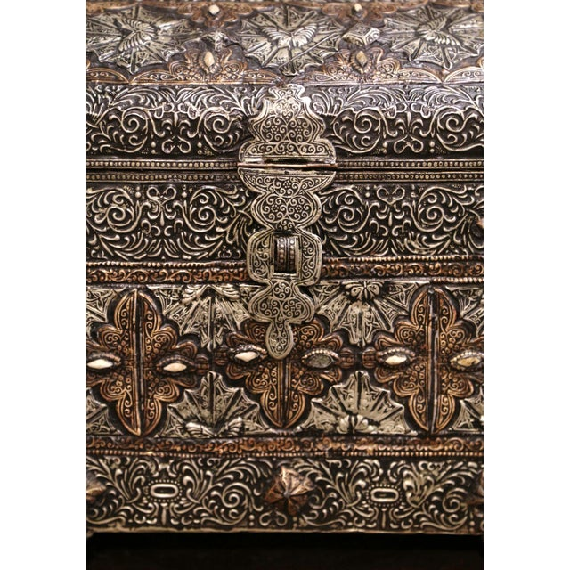 Late 18th Century 18th Century Spanish Gothic Repousse Silver and Gilt Copper Bombe Treasure Chest For Sale - Image 5 of 13