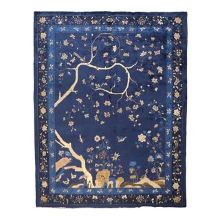 Pictorial Navy Chinese Landscape Rug, 9' X 11'5'' For Sale