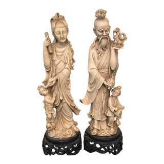 Chinese Deity Figurines - a Pair For Sale
