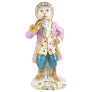 Antique Porcelain Monkey Musician, from Germany For Sale