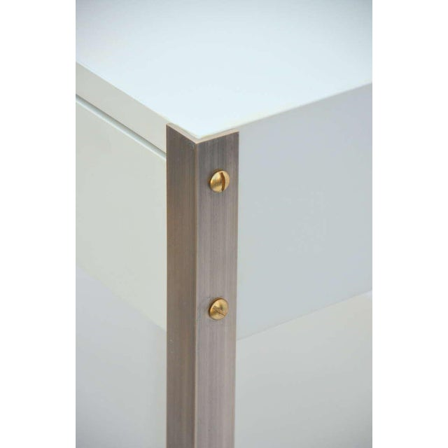 White Pair of Minimalist Ivory Lacquer and Brass Nightstands For Sale - Image 8 of 11