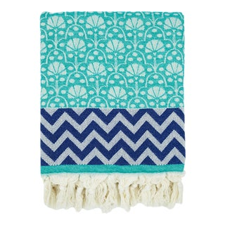 3rd Culture Teal 'Jaipur' Peshtemal Cotton Turkish Beach, Pool and Home Towel For Sale