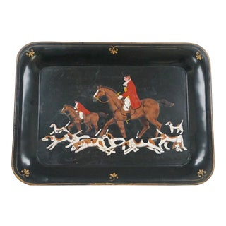 Hand Painted Century Fox Hunt Tray