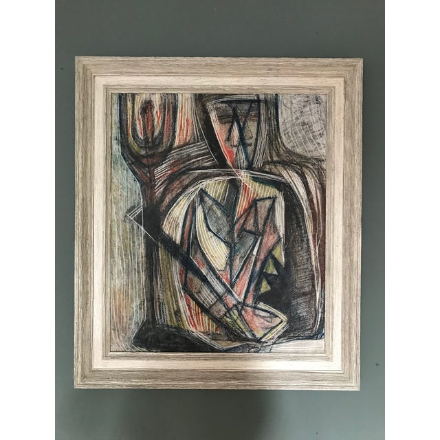 Green 1950s Cubist Abstract Male Portrait Painting For Sale - Image 8 of 8