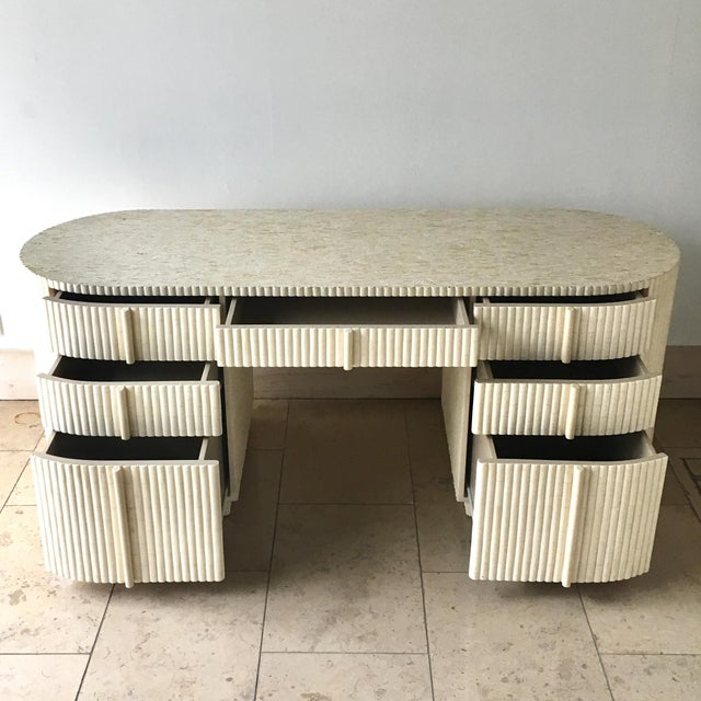Tessellated Bone and Antler Veneered Dressing Table 1980s For Sale - Image 6 of 10
