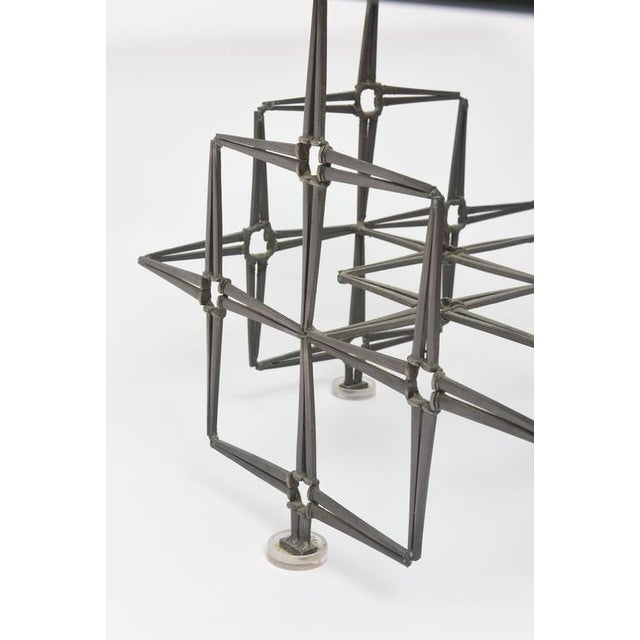 1980s 1980's Vintage Large Square Brutalist Nails & Glass Cocktail Table For Sale - Image 5 of 10