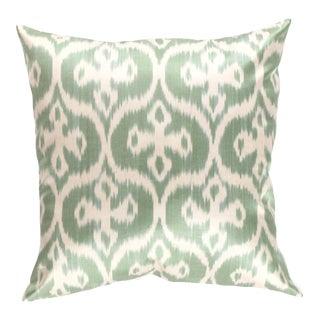 Turkish Green Silk Pillow Ikat For Sale