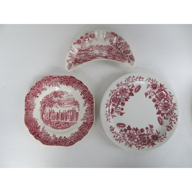 Red Transferware Plates-7 Pieces For Sale - Image 4 of 5