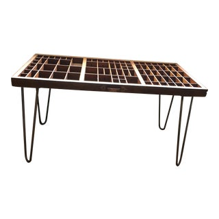 Mid-Century Modern Letterpress Drawer Coffee Table For Sale