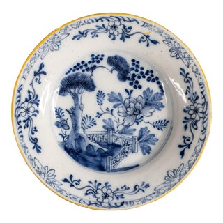 Antique 18th-Century Dutch Delft Chinoiserie Floral Plate For Sale