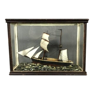 """Ship in Heavy Seas"" Model in Cylinder Glass Vitrine, 1900 For Sale"