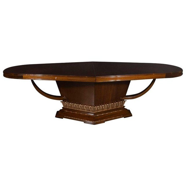 Art Deco Book Matched Mahogany Dining Table With 24-Karat Gilt Acanthus Details For Sale - Image 12 of 12