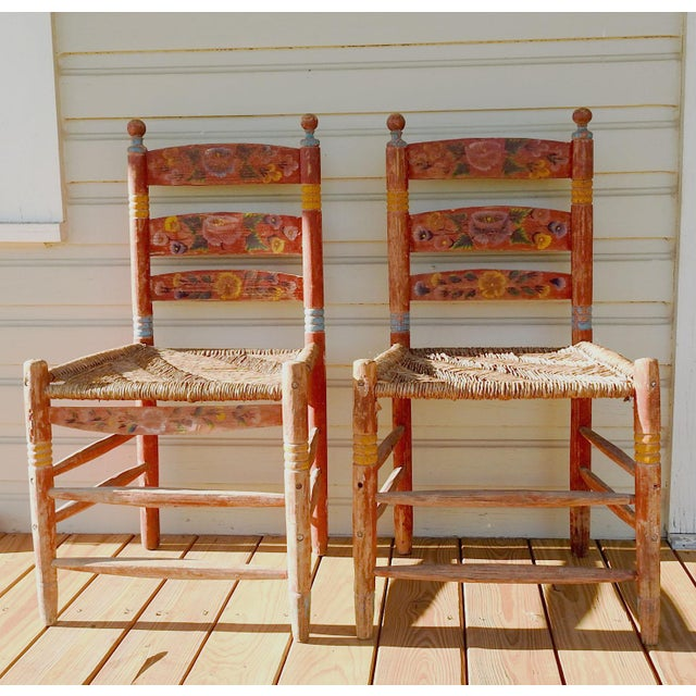 Vintage Painted Mexico Folk Art Rush Seat Chairs - a Pair For Sale - Image 11 of 11