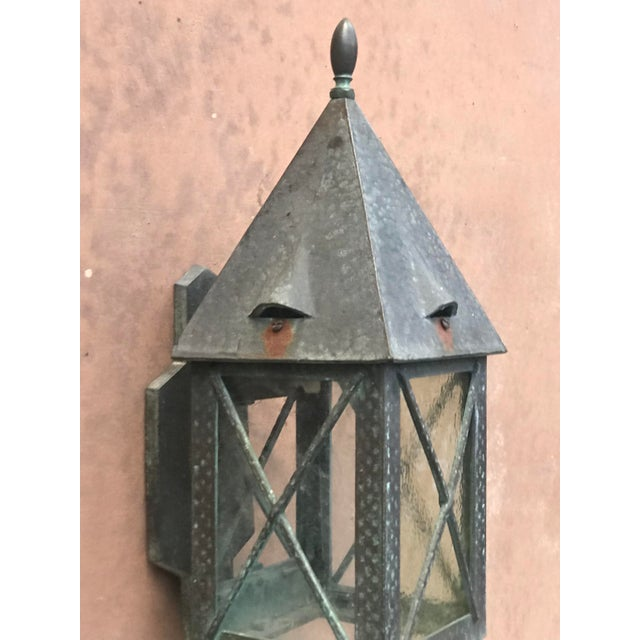 Rustic European Vintage Tudor Style Bronze Outdoor Wall Sconce For Sale - Image 3 of 6