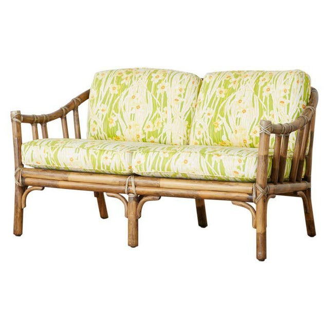 McGuire Organic Modern Bamboo Rattan Settee Loveseat For Sale - Image 13 of 13