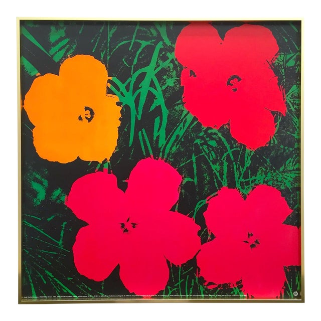 "Andy Warhol Foundation Rare Vintage 1993 Lithograph Print Framed Iconic Pop Art Poster "" Flowers "" 1964 For Sale"