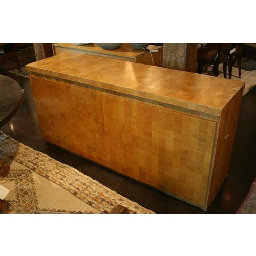 Unique mid-century modern French cork veneer cabinet with two doors, a great piece with lots of storage space. Made in the...