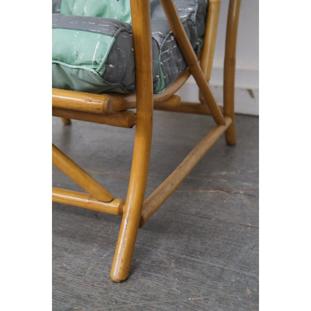 Mid-Century Rattan Frame High Back Lounge Chair - Image 7 of 10