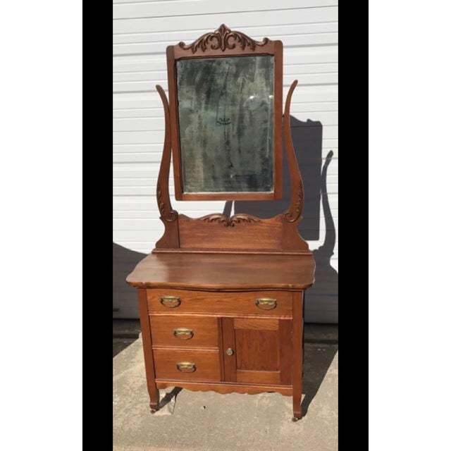 Antique Wash Stand W/ Mirror For Sale - Image 10 of 10